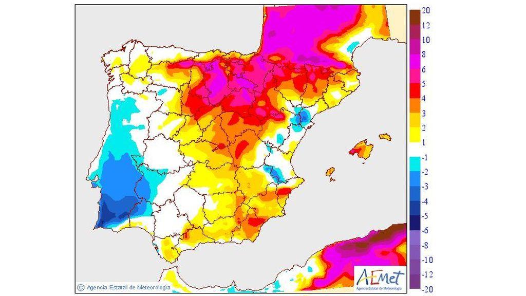 Variación de las temperaturas máximas el jueves con respecto al miércoles / Aemet