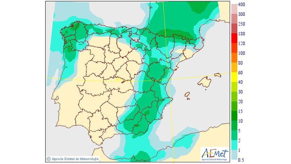 Precipitación media prevista para el viernes, 14 de junio / Aemet