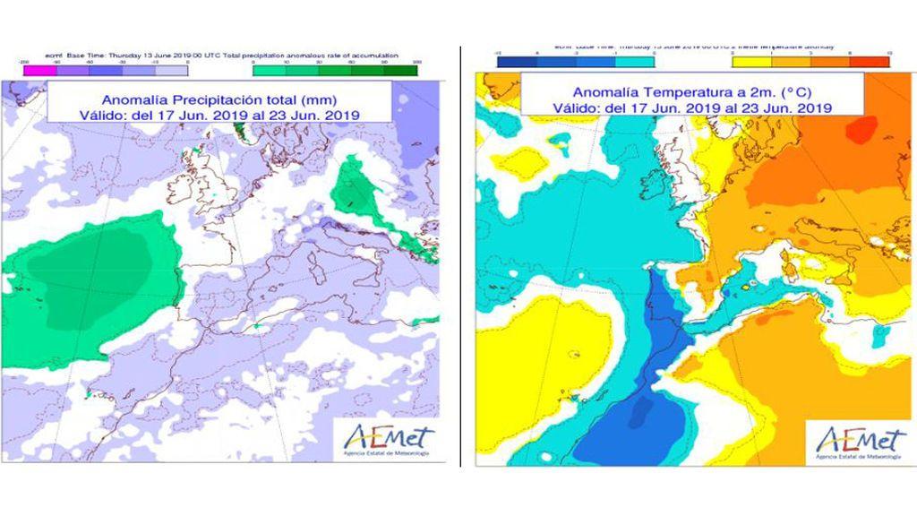 Anomalía de la temperatura y precipitación media prevista para la semana que viene