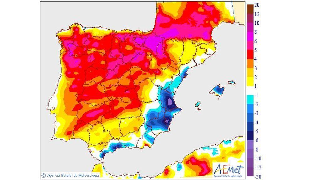 Variación de las temperaturas máximas prevista para el domingo / Aemet