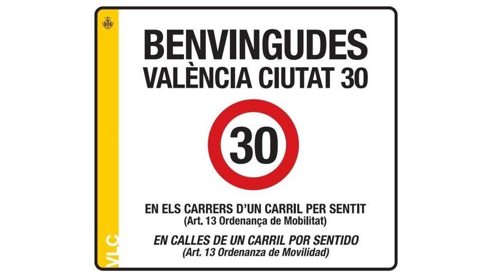 Nuevo cartel de velocidad en Valencia