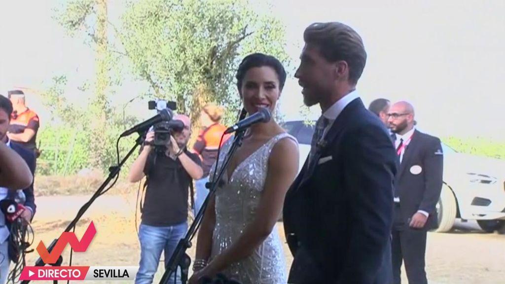 El simpático y generoso encuentro de Pilar Rubio y Sergio Ramos con la prensa antes de la celebración del convite