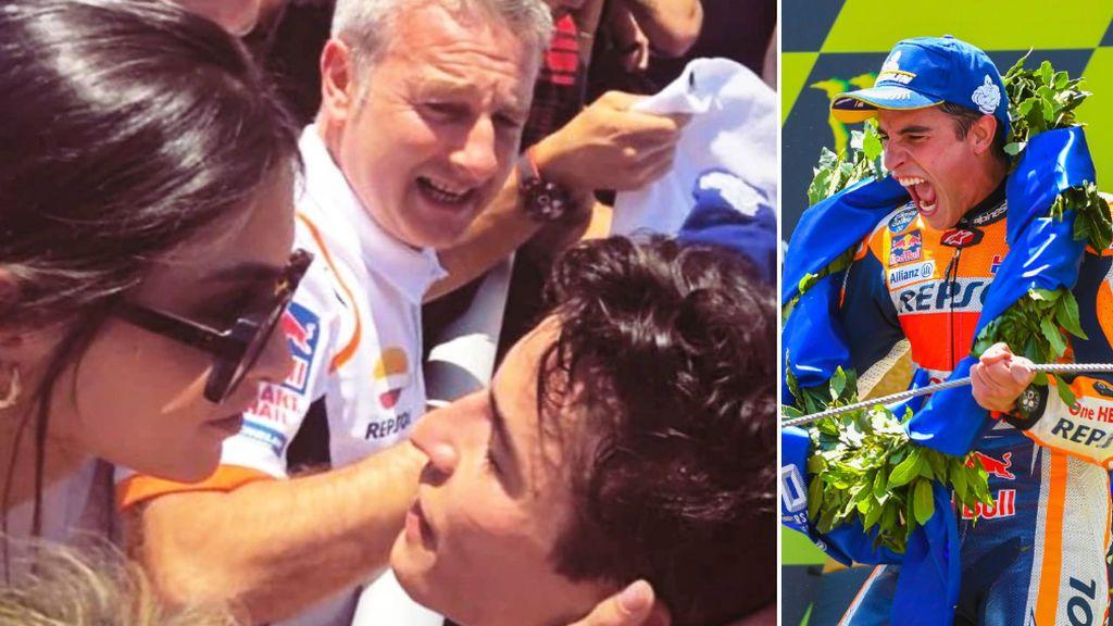 """El beso entre Lucía Rivero y Marc Márquez tras su victoria en el GP de Cataluña: """"Sigue haciendo tan feliz a los tuyos"""""""