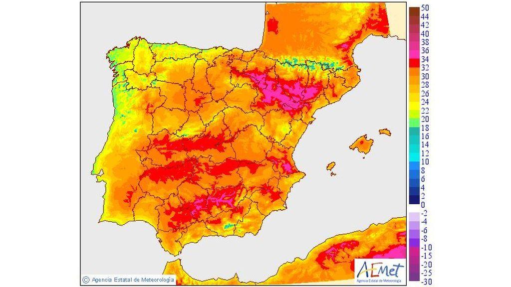 Temperaturas máximas previstas para el lunes, 17 de junio / Aemet