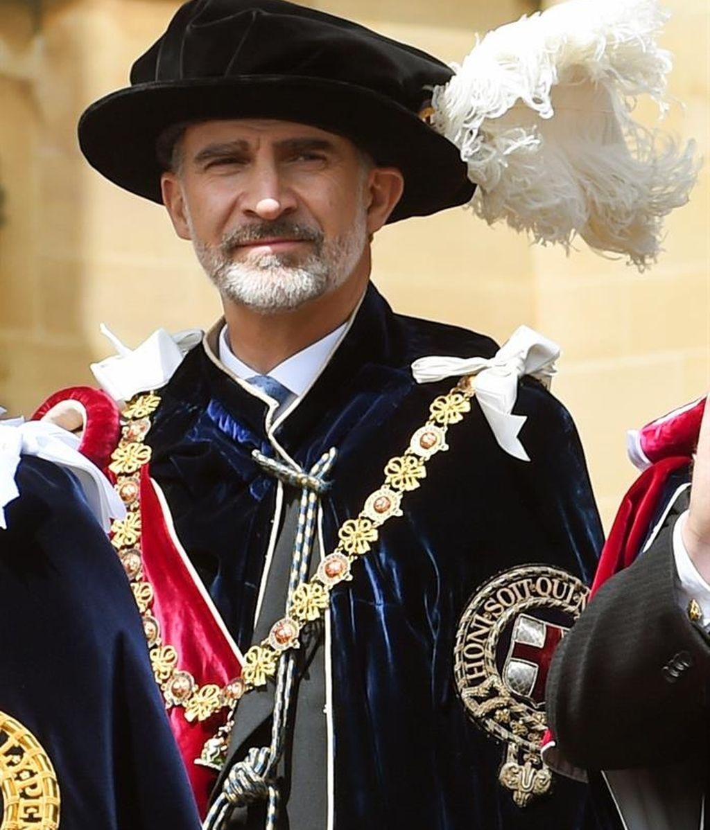 El rey Felipe VI tras ser investido como caballero por la Orden de Jarretera