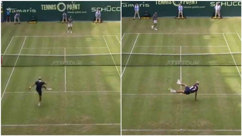 El divertido momento en el que los tenistas Tsonga y Paire cambian la raqueta por el pie en pleno partido