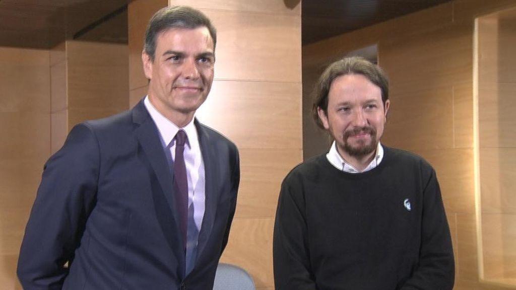 Sánchez con Iglesias en el Congreso