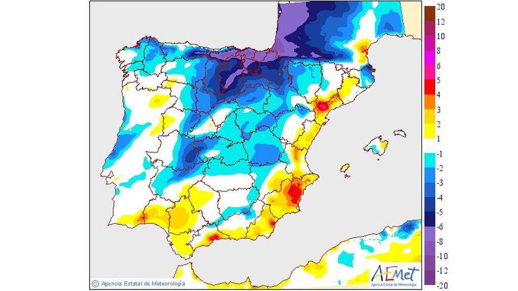 Variación de las temperaturas máximas prevista para el miércoles, 19 de junio / Aemet