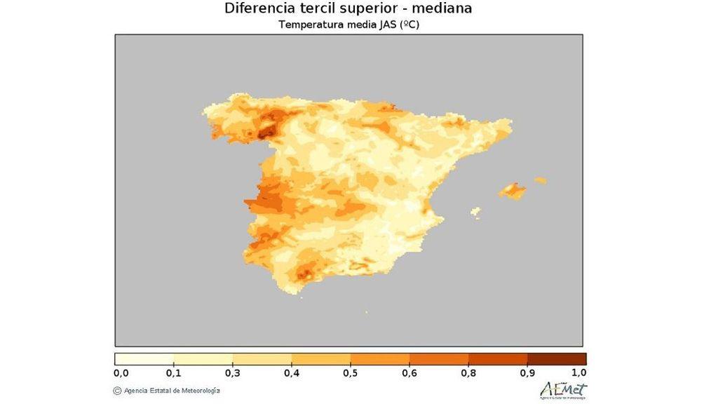 Anomalía de la media de las temperaturas previstas para el verano respecto al periodo de referencia / Aemet