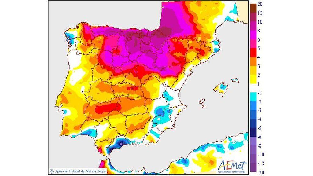 Variación de las temperaturas máximas prevista para el sábado, 22 de junio / Aemet