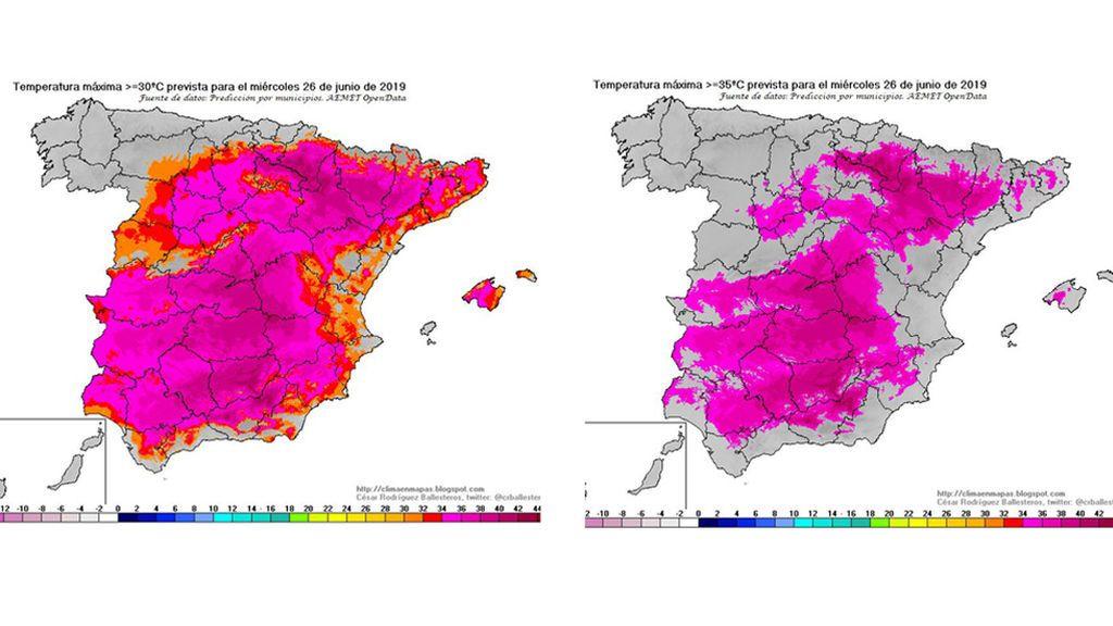 Mapas de previsión de temperaturas máximas ≥ 30ºC y ≥ 35ºC para el miércoles / @crballesteros