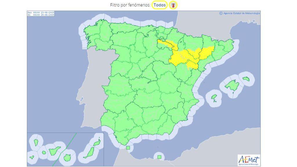 Avisos amarillos por temperaturas máximas muy elevadas previstos para el domingo / Aemet