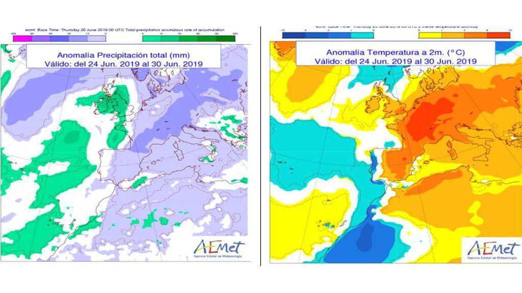 Mapas con la anomalía de precipitación y temperatura prevista para la próxima semana / Aemet