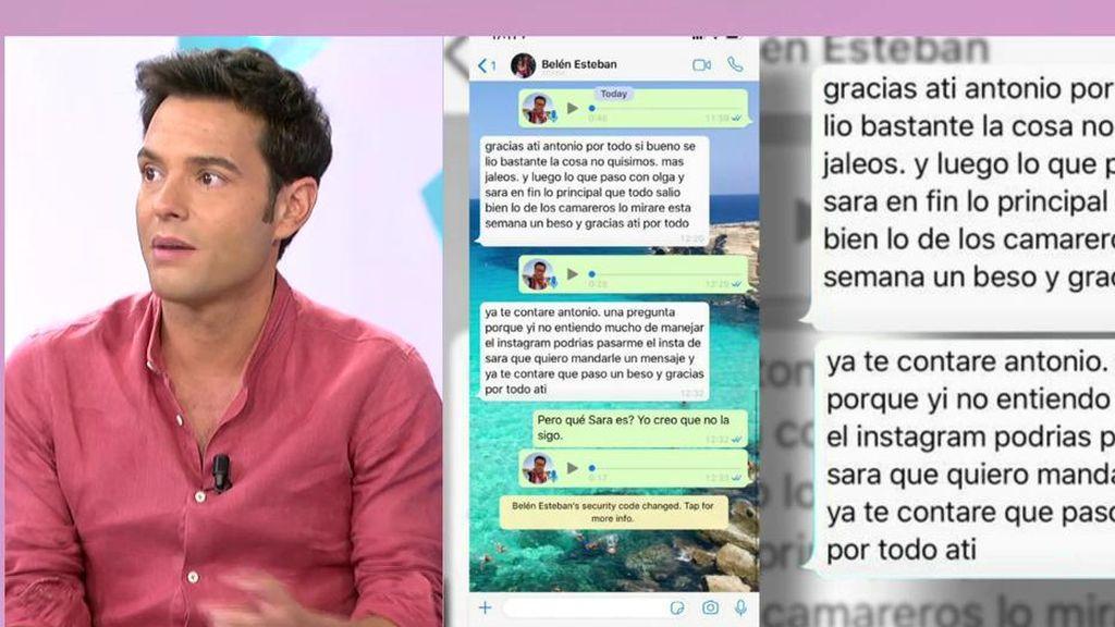 Antonio Rossi muestra los mensajes enviados desde el teléfono hackeado de Belén Esteban