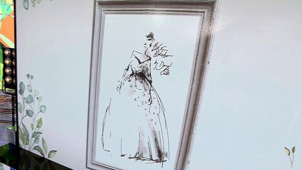 Escote corazón y una amplia falda: el boceto del vestido de novia de Belén Esteban