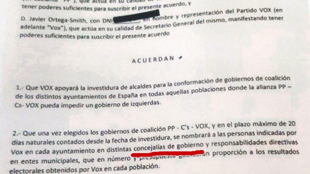 Vox hace público el documento secreto firmado con el PP  y rompe en los ayuntamientos