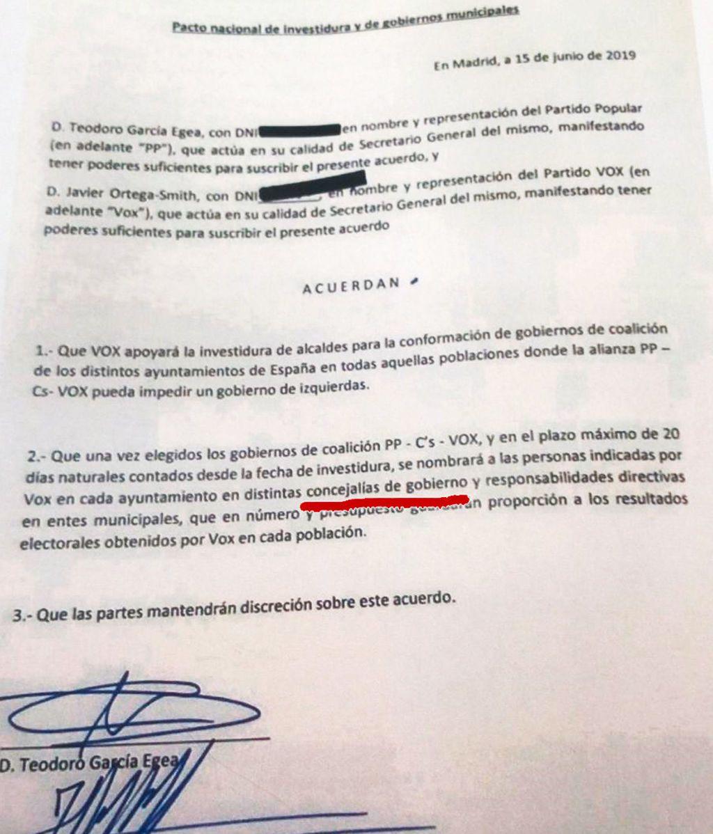 Acuerdo secreto firmado por Vox y PP la madrugada del 15 de junio