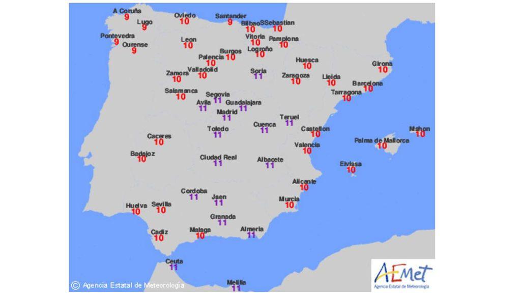 Índice de radiación UV máximo en condiciones de cielo despejado para el jueves / Aemet