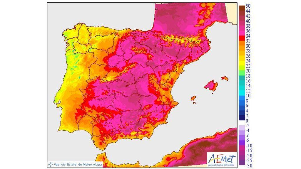 Temperaturas máximas prevista para el miércoles / Aemet