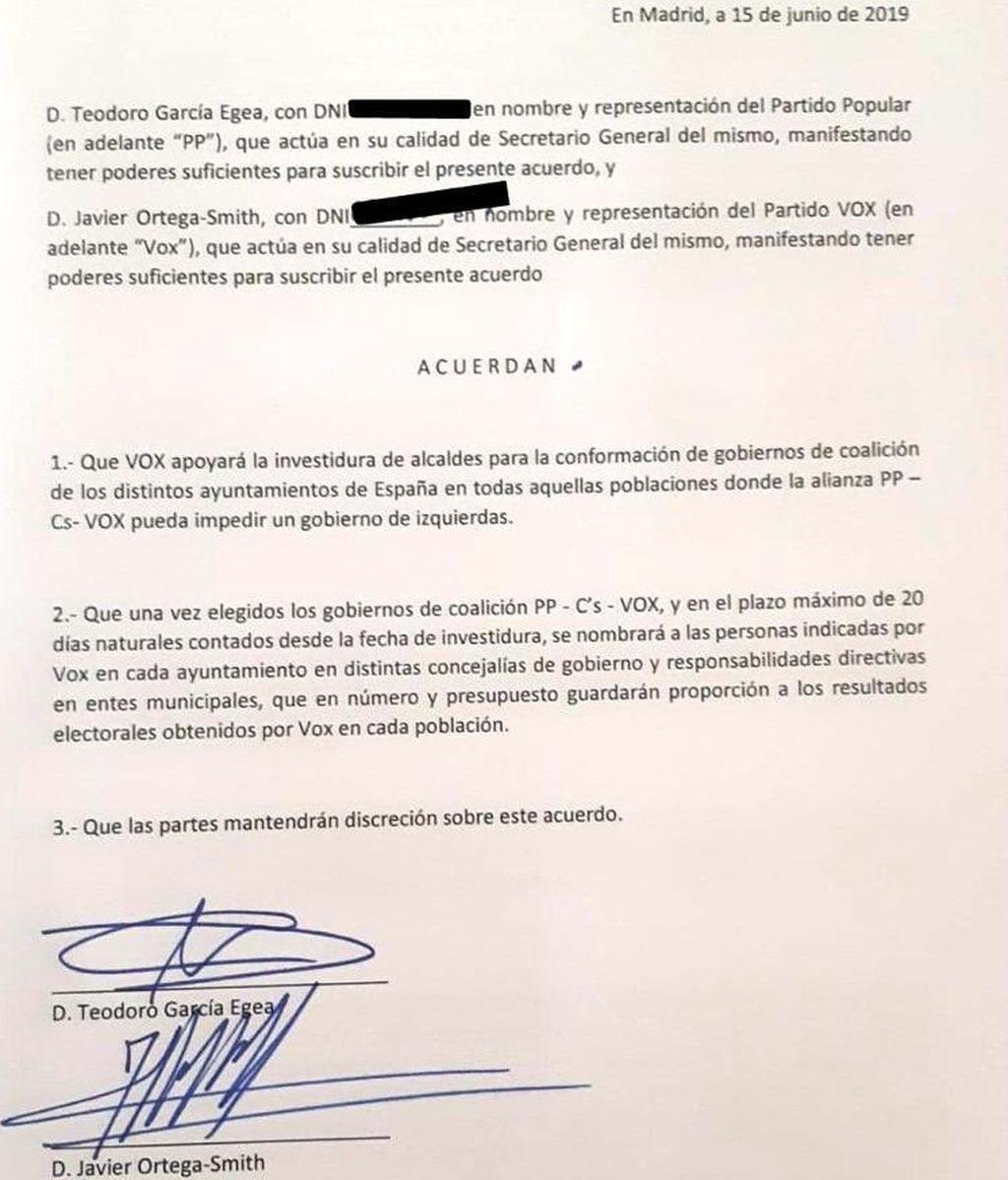 Vox hace público el acuerdo secreto con el PP y en el que sí había concejalías de gobierno