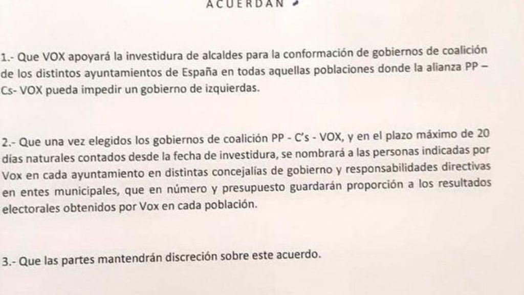 Acuerdo PP y VOX
