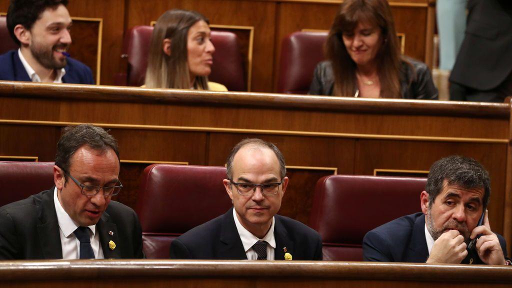 Josep Rull, Jordi Turull y Jordi Sánchez en el Congreso
