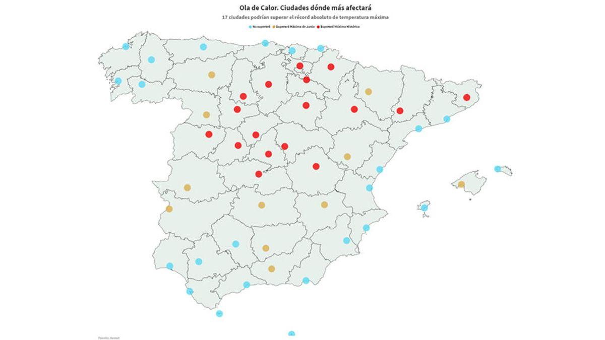 El mapa de la ola de calor en España: el verano is coming
