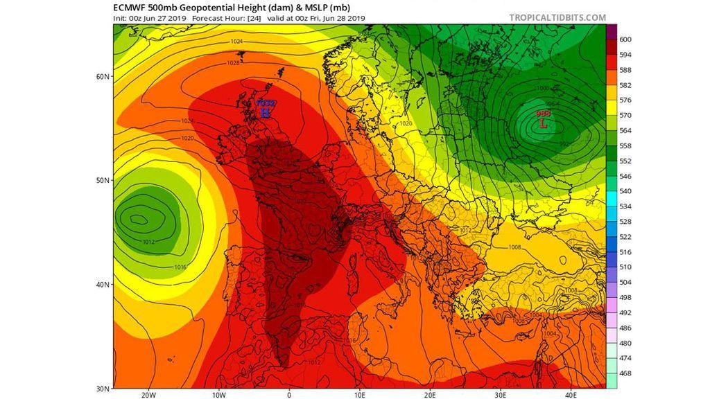 Previsión del modelo ECMWF a 500 mb para el viernes, 28 de junio / Tropical Tidbits