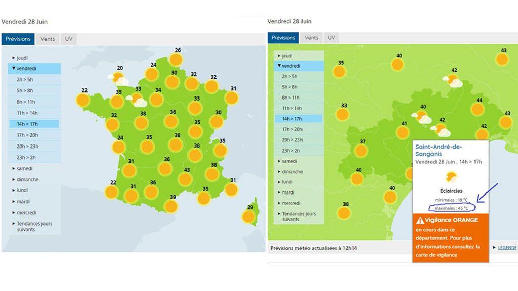 Temperaturas previstas en Francia para el viernes, 28 de junio / Meteo France
