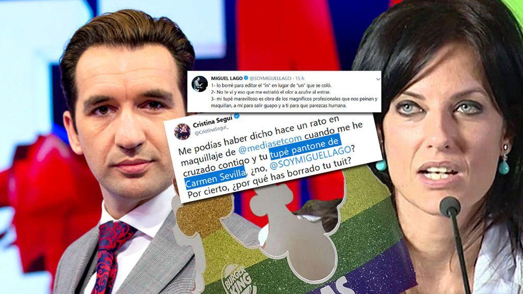 La tensísima conversación de Miguel Lago y Cristina Seguí en Twitter por la corona LGTBI de Burguer King