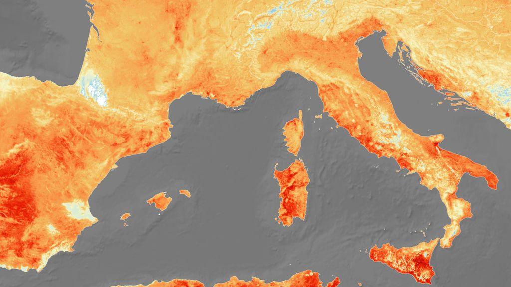 La sofocante ola de calor que cubre Europa, a vista de satélite