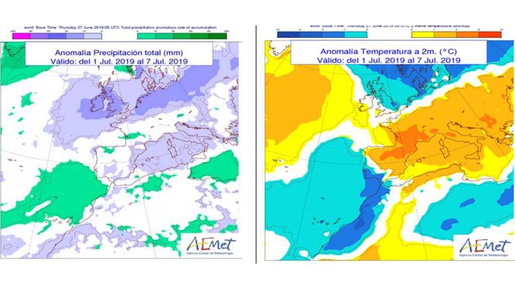 Anomalía de la temperatura y precipitación media para la próxima semana con respecto a valores normales / Aemet