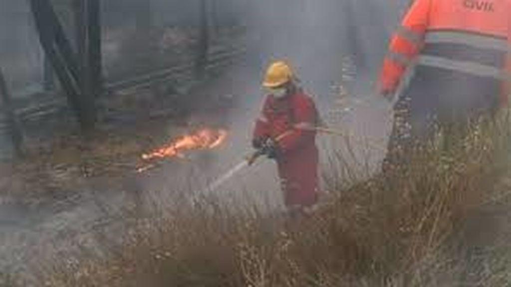 Numerosos efectivos trabajan en el incendio de Gavilanes (Ávila), que ha llegado a Pedro Bernardo