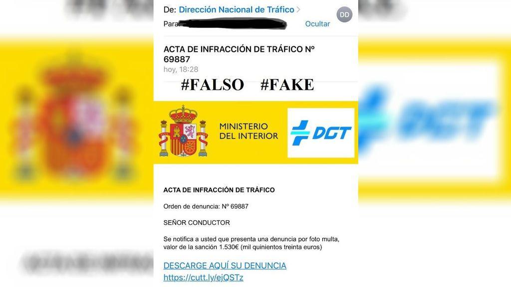 La DGT alerta de una estafa que comunica por correo electrónico multas de 1.530 euros