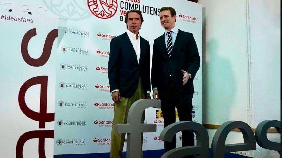 Aznar bendice a Casado como líder de la derecha