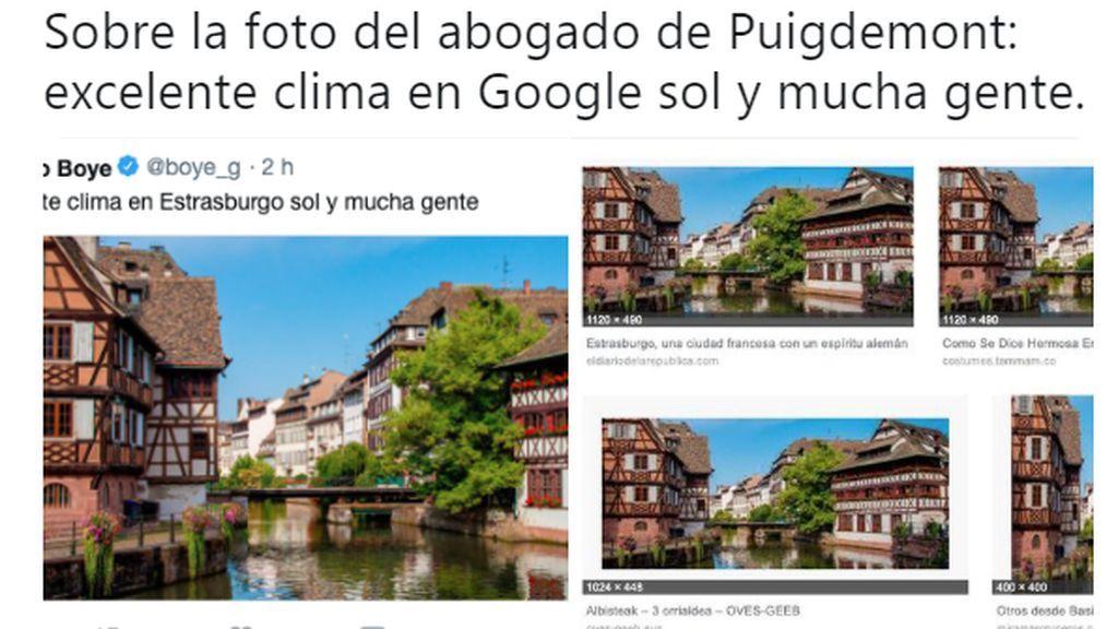 Mofa en las redes por la foto de Estrasburgo robada de Google colgada por el abogado de Puigdemonte