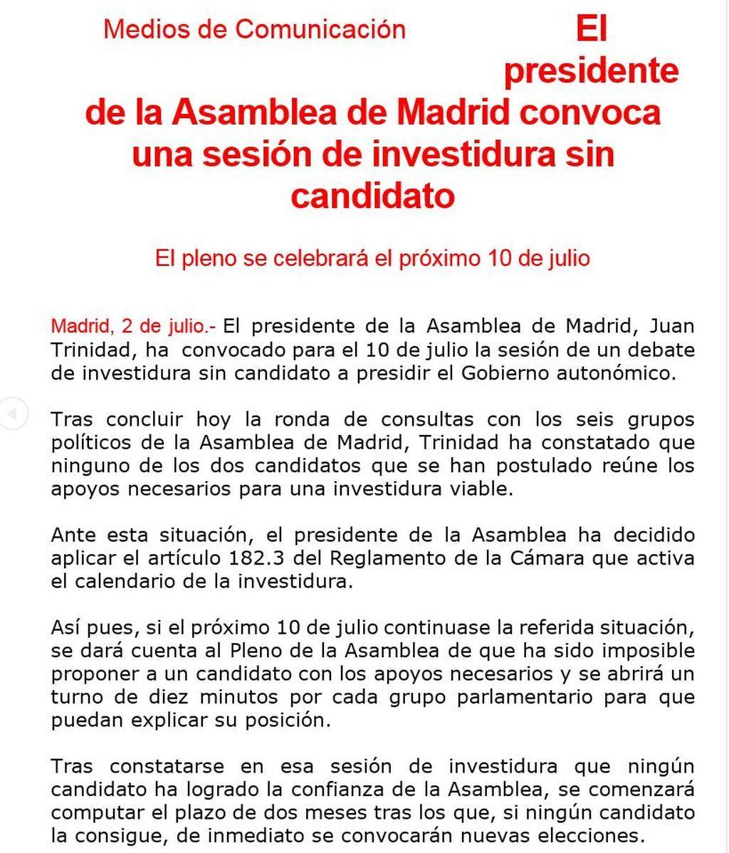 Comunicado pleno Madrid