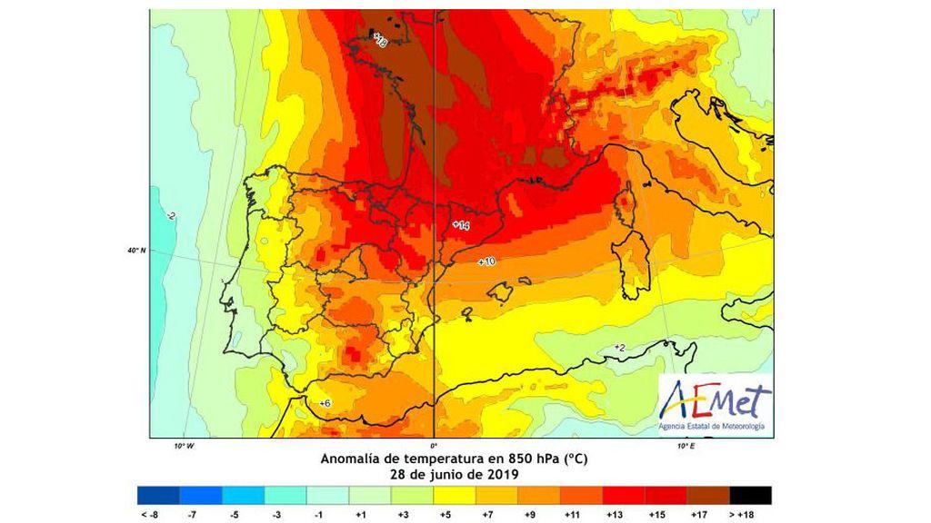 *Imagen: Anomalías de temperatura a 850 hPa en la península el viernes 28 de junio / Aemet