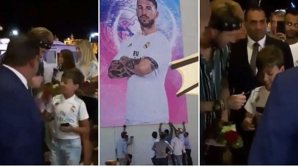 El recibimiento a Sergio Ramos en Egipto: himnos de Real Madrid y España, niños con flores, y guardaespaldas pidiendo aplausos