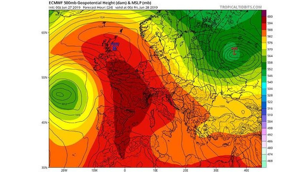 *Imagen: Previsión del modelo ECMWF a 500 mb para el viernes, 28 de junio / Tropical Tidbits