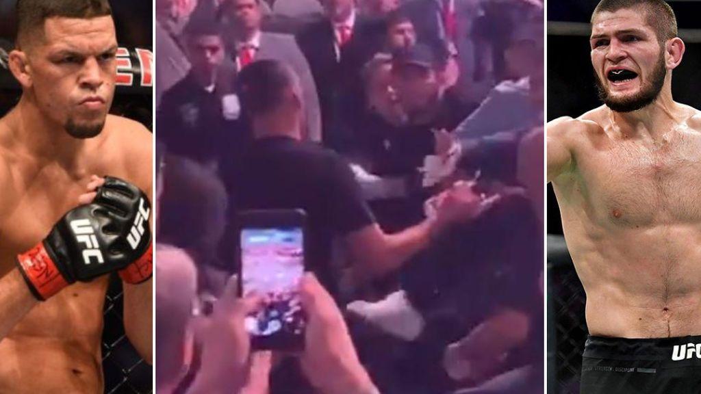 Khabib Nurmagomedov la vuelve a liar: El ruso casi llega a las manos con Nate Díaz y tiene que ser sujetado por la seguridad