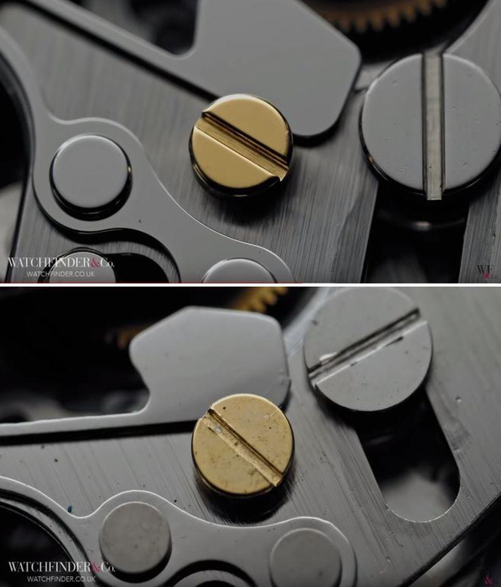 Detalles interiores del Rolex Daytona y una falsificación