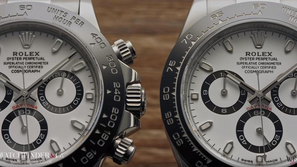 Esfera de un Rolex Daytona y su falsificación