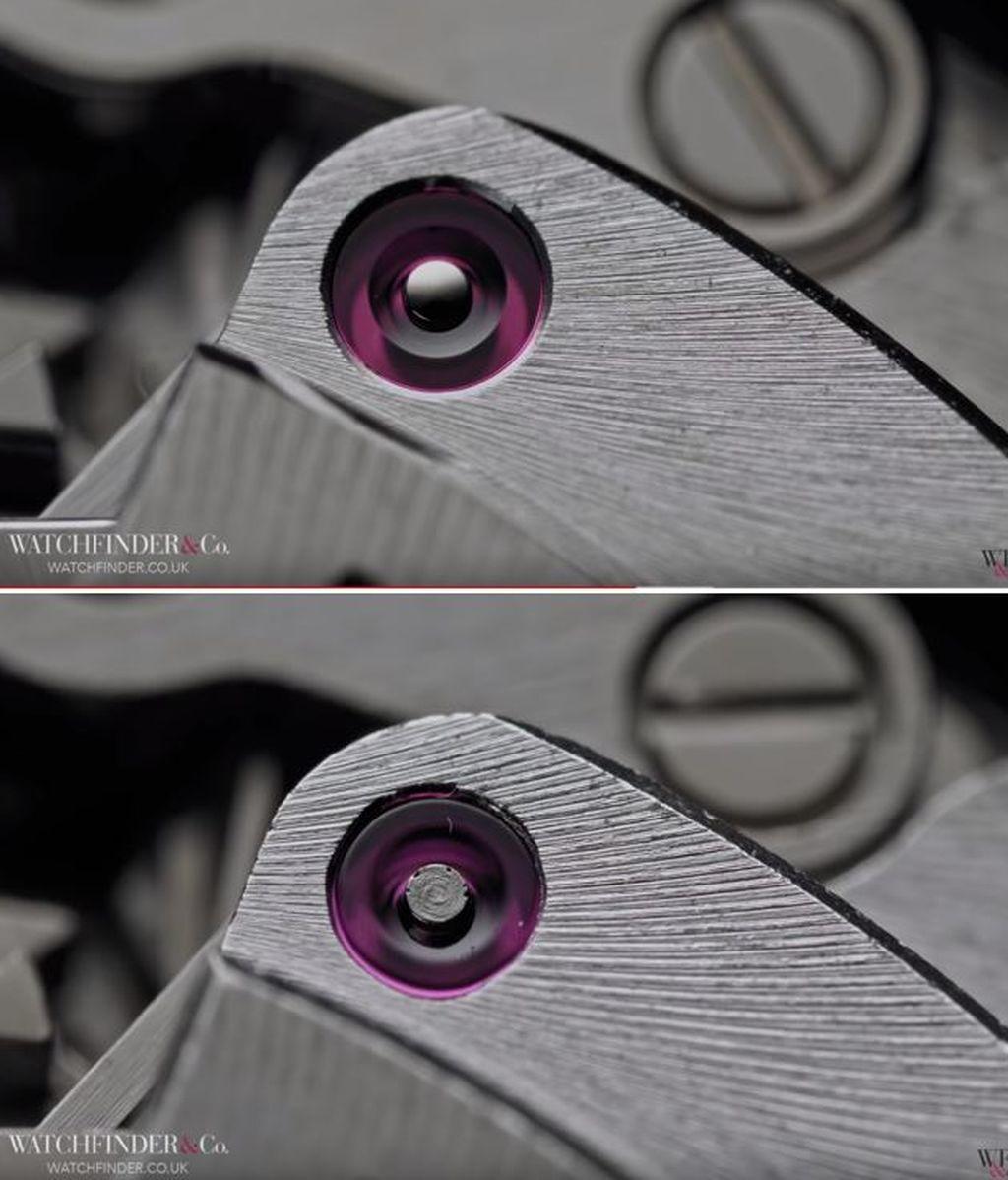 Piezas interiores del Rolex Daytona y una falsificación