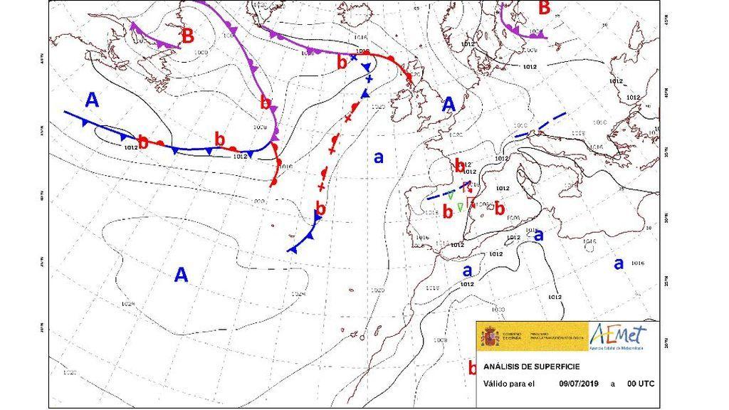 MApa con frentes previsto para la mañana del martes, 9 de julio / Aemet