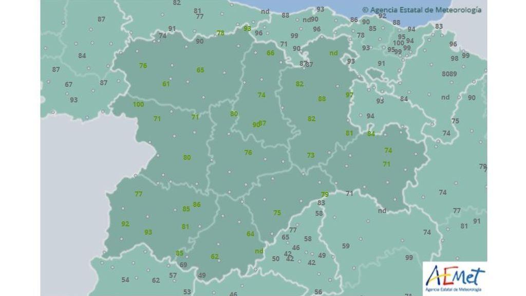 Humedad relativa el martes por la mañana en Castilla y León / Aemet