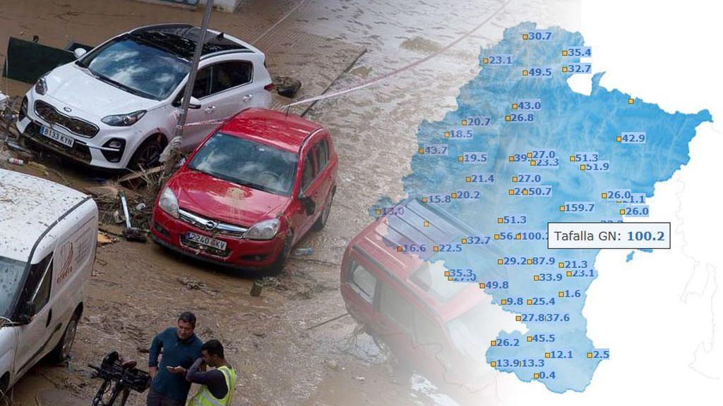 Tormenta histórica en Tafalla con 100l/m² en pocas horas: las imágenes más impactantes