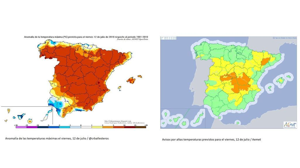 Anomalía de las máximas y avisos por calor para el viernes, 12 de julio / Aemet / @crballesteros