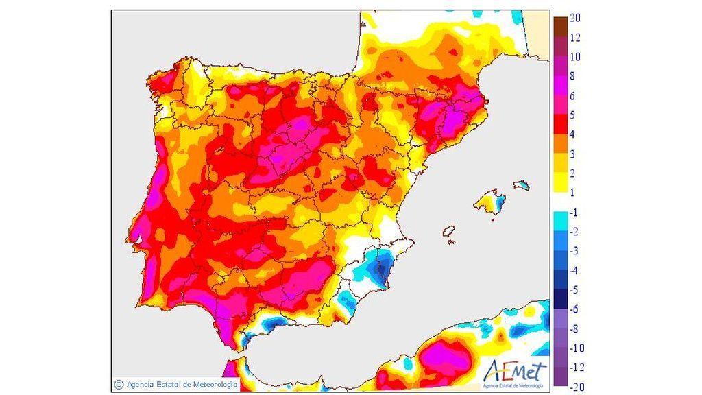 Variación de las temperaturas máximas el miércoles, 10 de juilio / Aemet