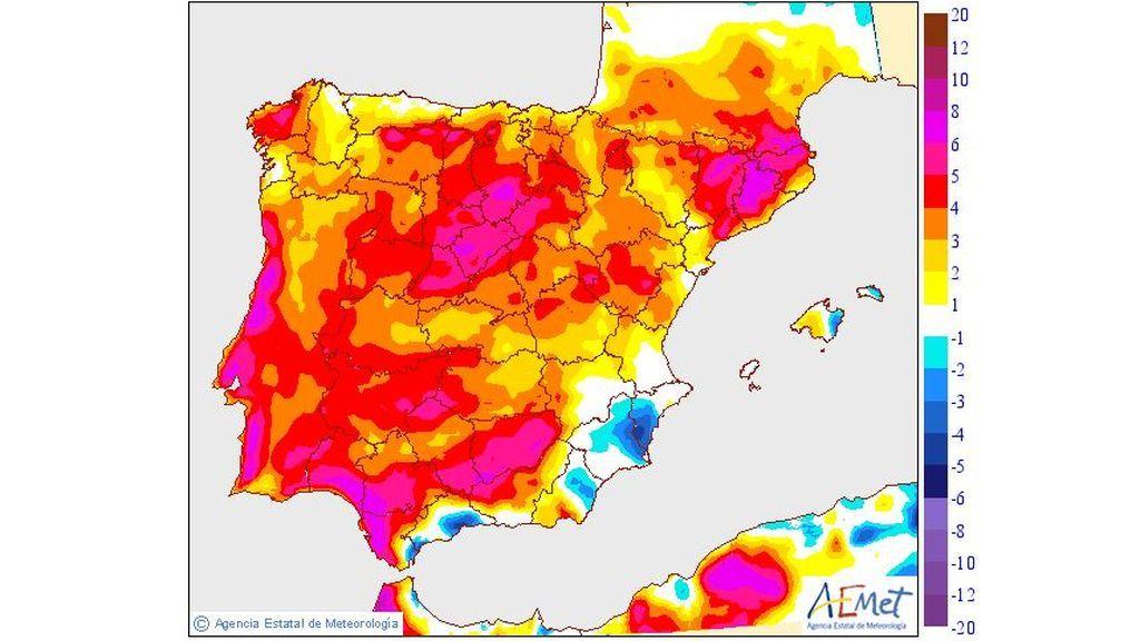 Variación de las temperaturas máximas el miércoles, 10 de julio / Aemet